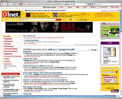 Page de résultat web sur 01net