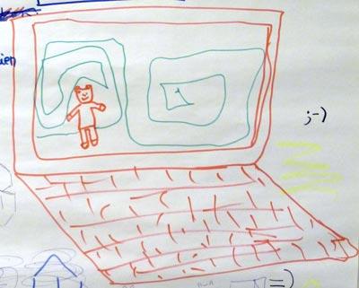 Un dessin sur l'écran d'un ordinateur dessiné… meta !