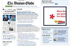 Page d'accueil du Boston Globe