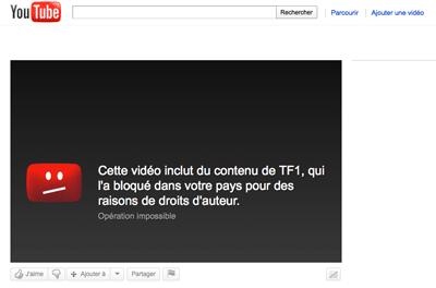 """Sur YouTube: """"Cette video est bloqué dans votre pays»"""