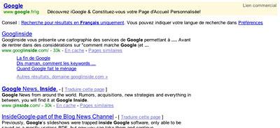 Recherche sur Google, gros plan