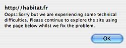 Alerte sur le site Habitat.fr sous Safari