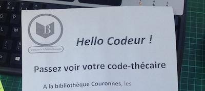 La petite affiche locale pour Hello Codeur à la bibliothèque Couronnes