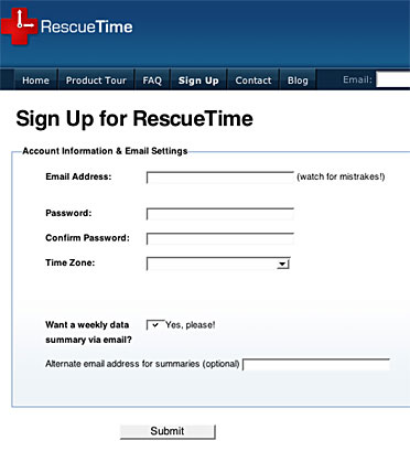 Page d'inscription à RescueTime