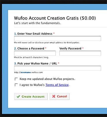 Page d'inscription à Wufoo